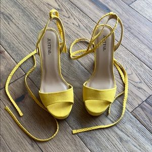 Yellow JustFab Ankle Lace-Up Heels💛✨
